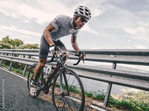 Cyclist in maximum effort Canvas Print