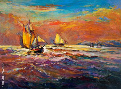 statki-z-bialymi-zaglami-na-wzburzonym-oceanie-akwarela