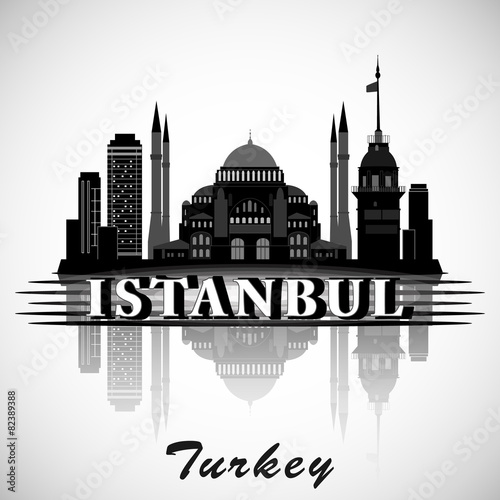 Modern Istanbul City Skyline Design. Turkey Poster