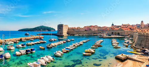 Canvas Prints Ship Beautiful sunny day over the bay in front of old town Dubrovnik