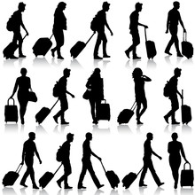 Black Silhouettes Travelers With Suitcases On White Background.
