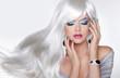 Leinwanddruck Bild - Beauty Makeup. Long hair. Blond girl with white wavy haistyle in