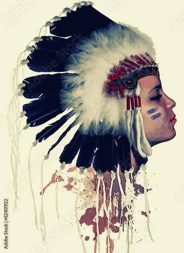 profil-indianina-pioropusz-farba-na-twarzy-malarstwo-akwarela