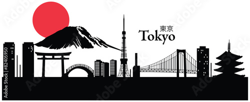 Vector illustration of cityscape of Tokyo, Japan Wallpaper Mural