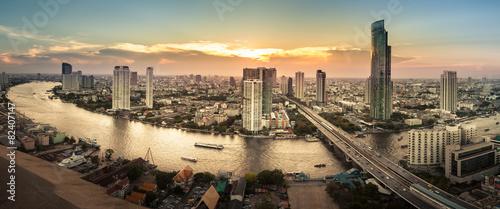 Spoed Foto op Canvas Bangkok Landscape of River in Bangkok city, Panorama