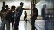 MS Student bullying friends (14-17) in school corridor / Spanish Fork City, Utah, USA