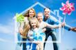 Family in blue sky