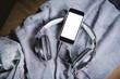 Listen to music, phone, shirt and headphones