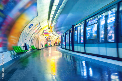 Fotografie, Obraz  Stanice metra v Paříži