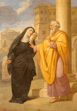 Rome - Fresco Of St. Augustine And His Mother St. Monica