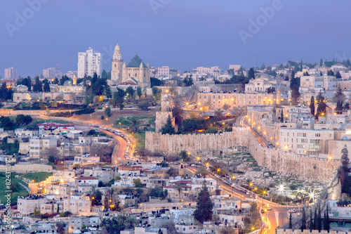 Fotomural Jerusalem - Outlook from Mount of Olives to Dormition abbey