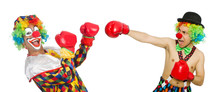 Clown With Boxing Gloves Isolated On The White