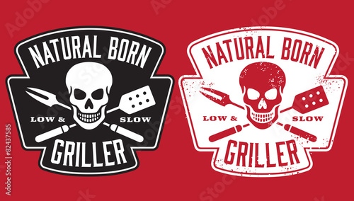 Barbecue vector design with clean and grunge versions - 82437585