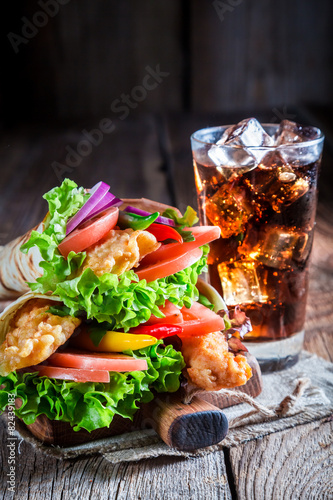 Fototapety, obrazy: Hot kebab with vegetables and chicken