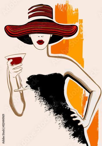 ladna-kobieta-z-wielkim-kapeluszem-ma-koktajl