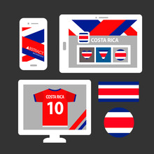 Set Of Costa Rica Flag