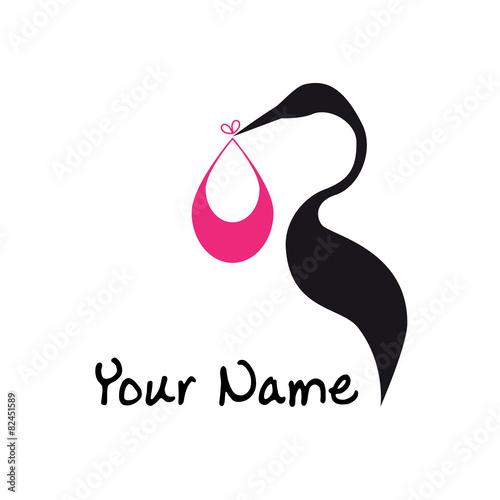 Stampa su Tela Vector sign abstract stork and baby