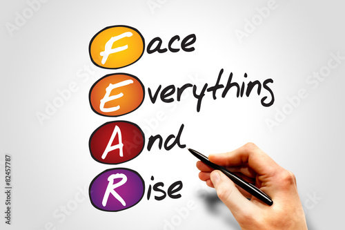 Fotografie, Tablou  Face Everything And Rise (FEAR), business concept acronym