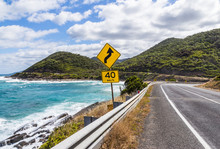 The Yellow Signs On The Great Ocean Road