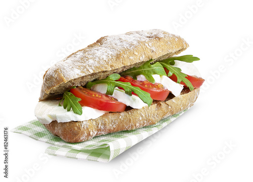 Staande foto Snack sandwich with mozerella and tomato