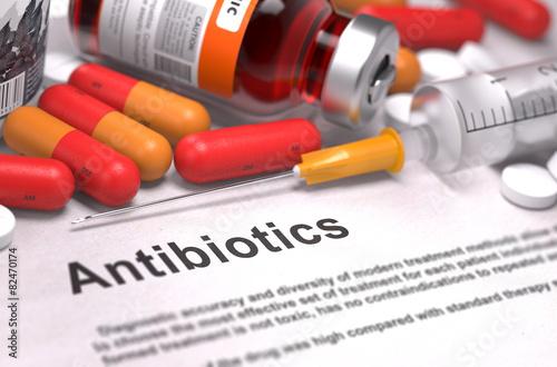 Obraz Antibiotics - Medical Concept. Composition of Medicamen. - fototapety do salonu