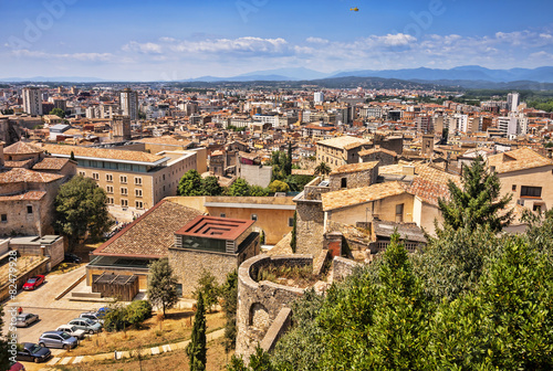 Garden Poster Paris View of the City of Girona in Spain.