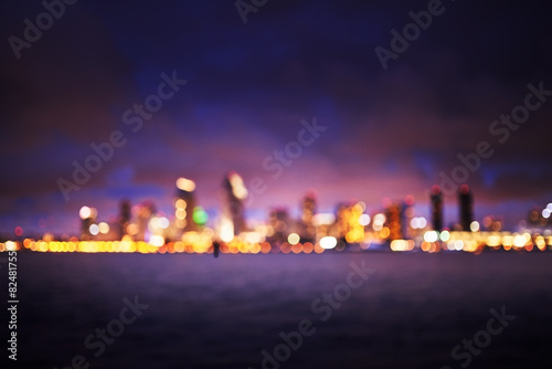Photo  blurred out of focus bokeh-scape of san diego skyline at night