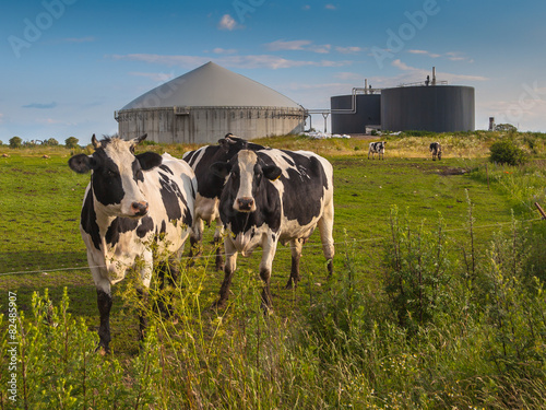 Biogas plant on a farm Canvas Print