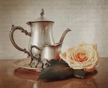 Silver Tea Set With Retro Vint...
