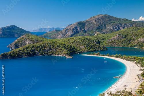 Photo sur Aluminium Kaki Oludeniz lagoon in sea landscape view of beach
