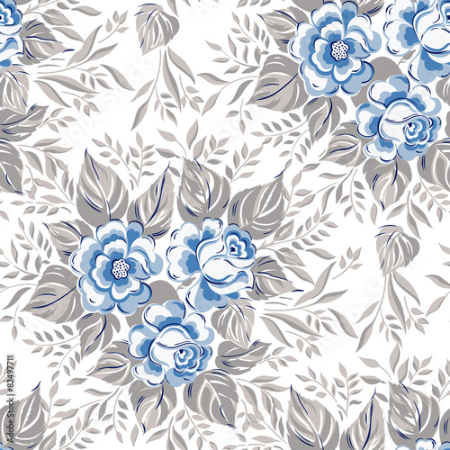 Foto-Tapete - Blue color seamless pattern with roses. (von ka_lou)