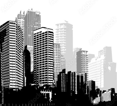 czarno-biale-panoramy-miast-sztuka-wektor