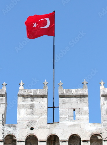 Photo  Waving Turkish flag on Topkapi Palace wall in istanbul