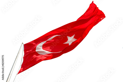 Photo  Waving Turkish flag on white background