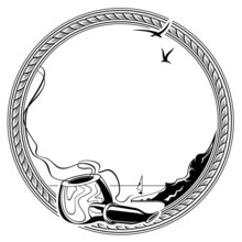 Round Frame With Pipe And Sea Landscape