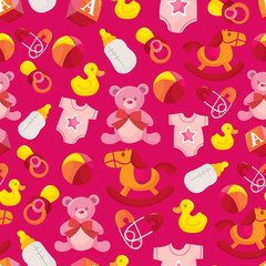 Pink Baby Girl Seamless Pattern Background