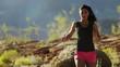 MS PAN Young woman jogging in desert landscape / Lake Powell, Utah, USA