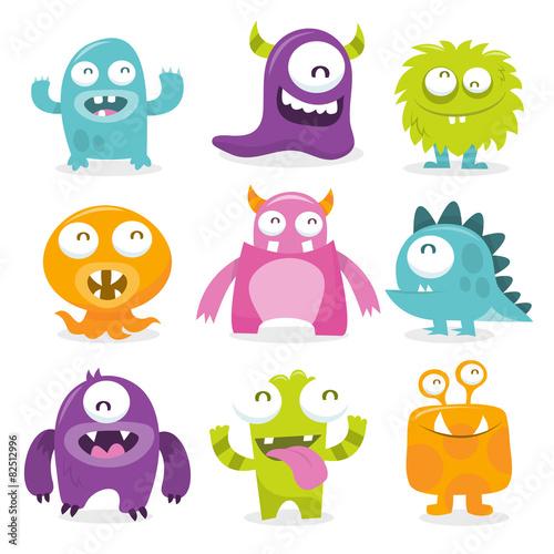 Cuadros en Lienzo  Series of vector illustrated cartoon monsters