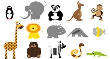 Dzikie Zwierzęta, Zestaw Dla Dzieci / Wektory