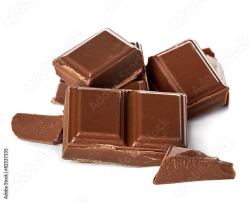 Foto op Aluminium Snoepjes chocolate bars isolated on white background
