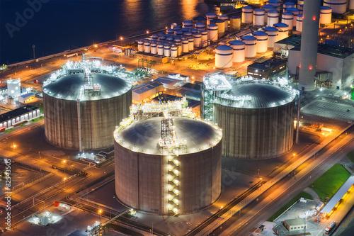Photo  storage tanks at night