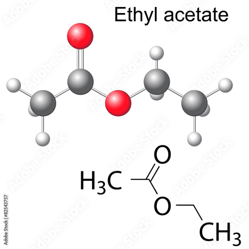 Fotografering  Structural chemical formula and model of ethyl acetate