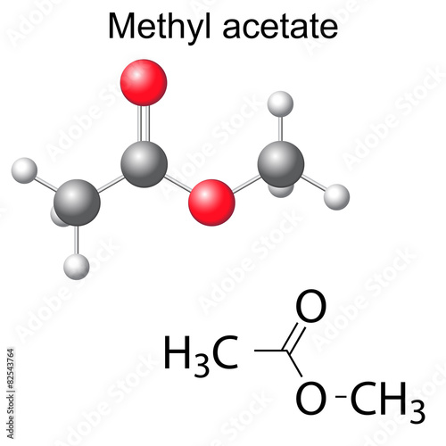 Fotografering  Structural chemical formula and model of methyl acetate