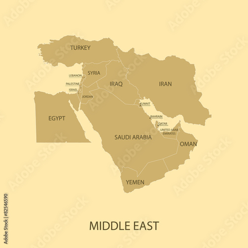 Middle East Map with country name - Buy this stock vector and ...