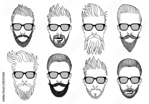Fotografie, Obraz  hipster faces with beard and mustache, vector set
