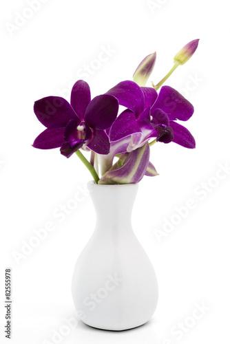 Fotografie, Obraz  Blossom purple orchid in white vase