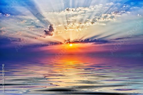 Poster Mer coucher du soleil sunrise in the sea