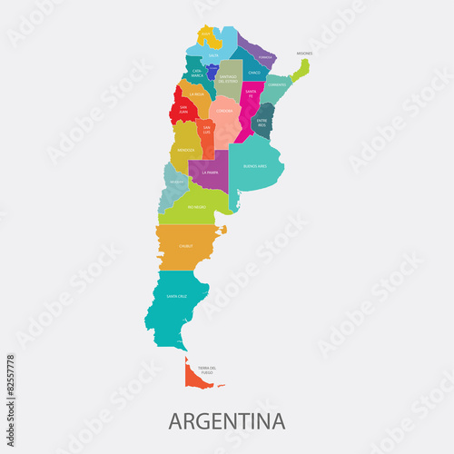 Photo ARGENTINA MAP colored with regions vector illustration