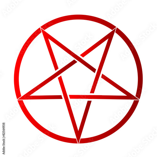 Photo  The five pointed pentagram over a white background