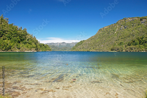Shore of lake Waikaremoana, Te Urewera NP